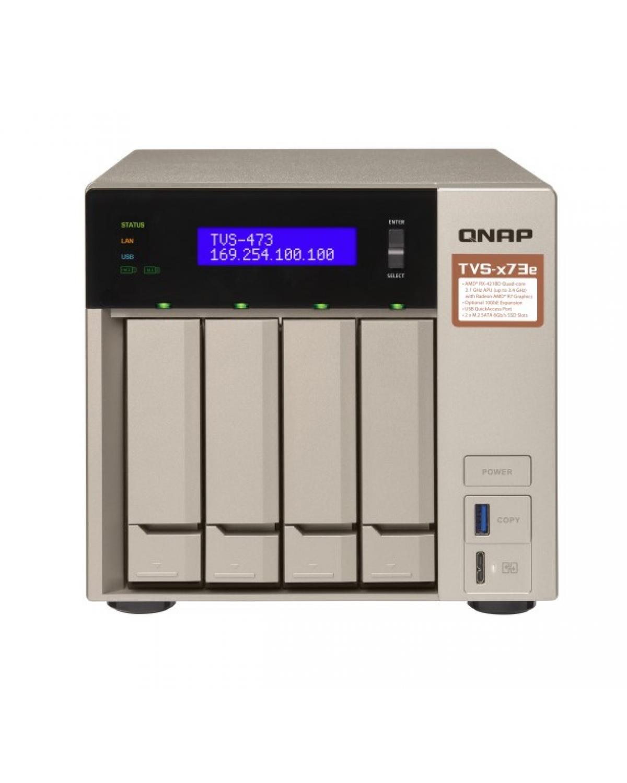 SERVIDOR DE DADOS NAS AMD QUAD-CORE 2.1GHZ - 4GB - 4 BAIAS SEM DISCO - TVS-473E-4G-US