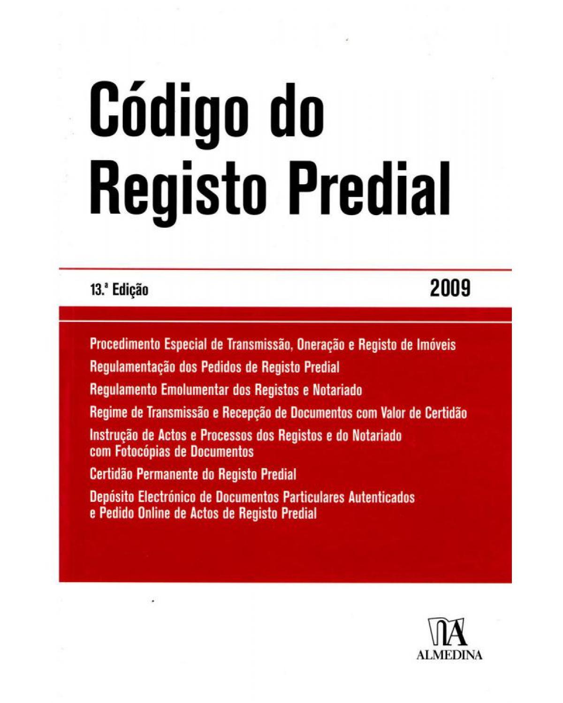 Código do registo predial - 13ª Edição | 2009