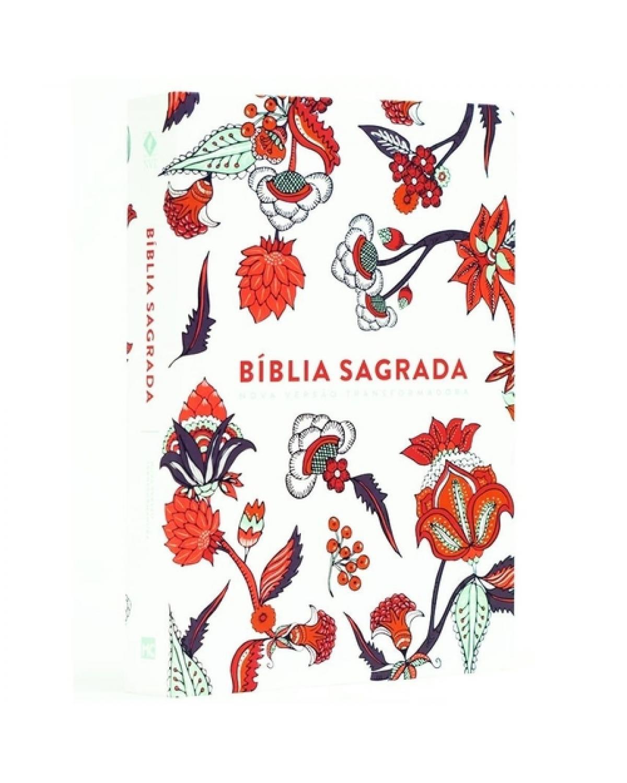 BÍBLIA SAGRADA NOVA VERSÃO TRANSFORMADORA - CAPA SOFT TOUCH - INDIAN FLOWERS BRANCA
